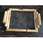 Bandeja Bambu com Vidro 26 X 17 X 4,5 CMS