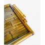 Bandeja Bambu fundo bambu com vidro G  53 X 40 cms