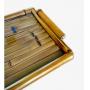 Bandeja Bambu fundo bambu com vidro M 42 x 35