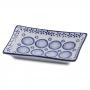 Prato retangular azul branco para comida japonesa