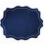 Jogo Americano Branco bordado Azul marinho