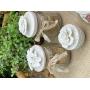 Pote  Vidro com Tampa em Cerâmica com Flores Porcelana  12,5 x 7,5 cm
