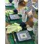 Prato Quadrado Azul Branco para comida japonesa