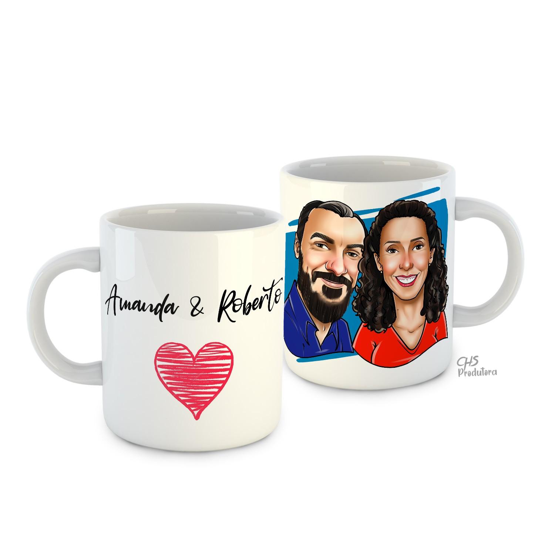 Caneca Cerâmica Personalizada com caricatura de casal
