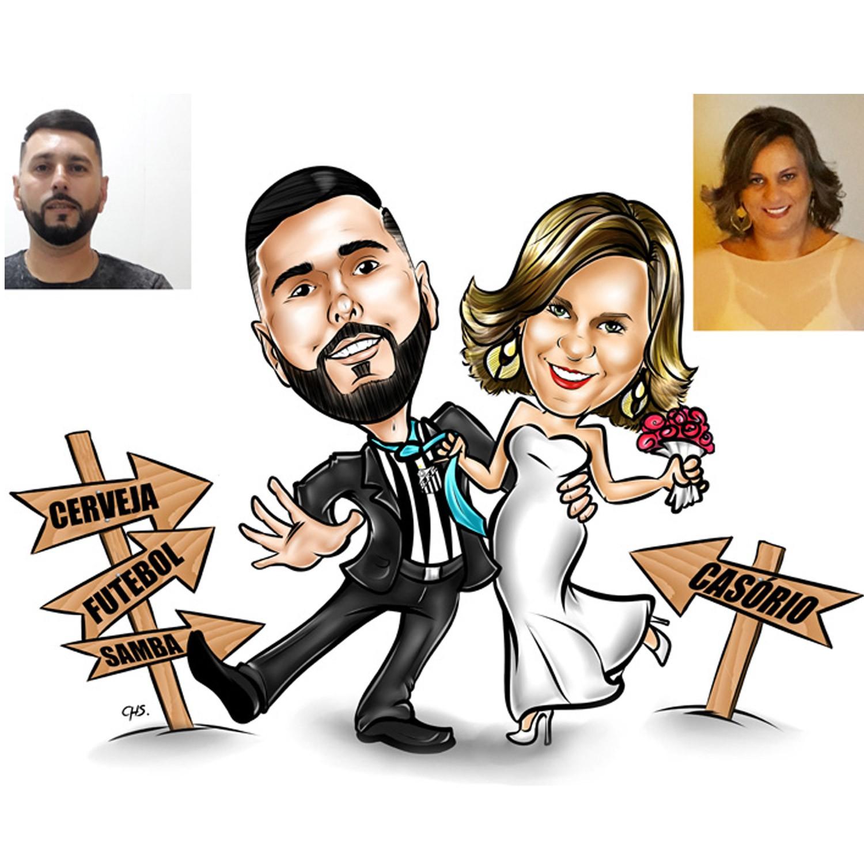 Caricatura Casal - Corpo Inteiro