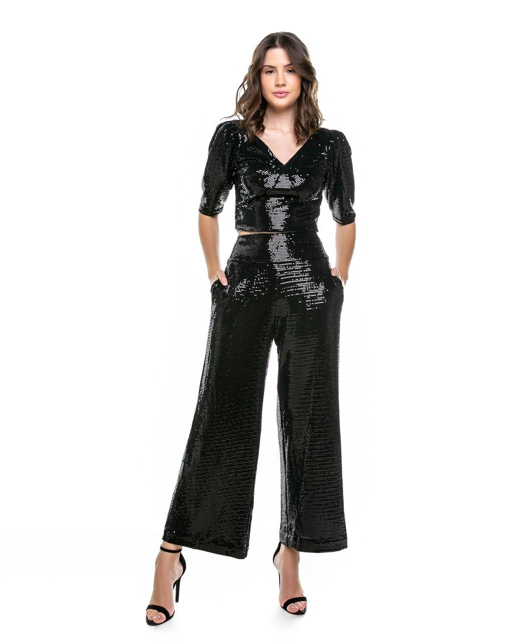 Calça Pantalona de Paetês