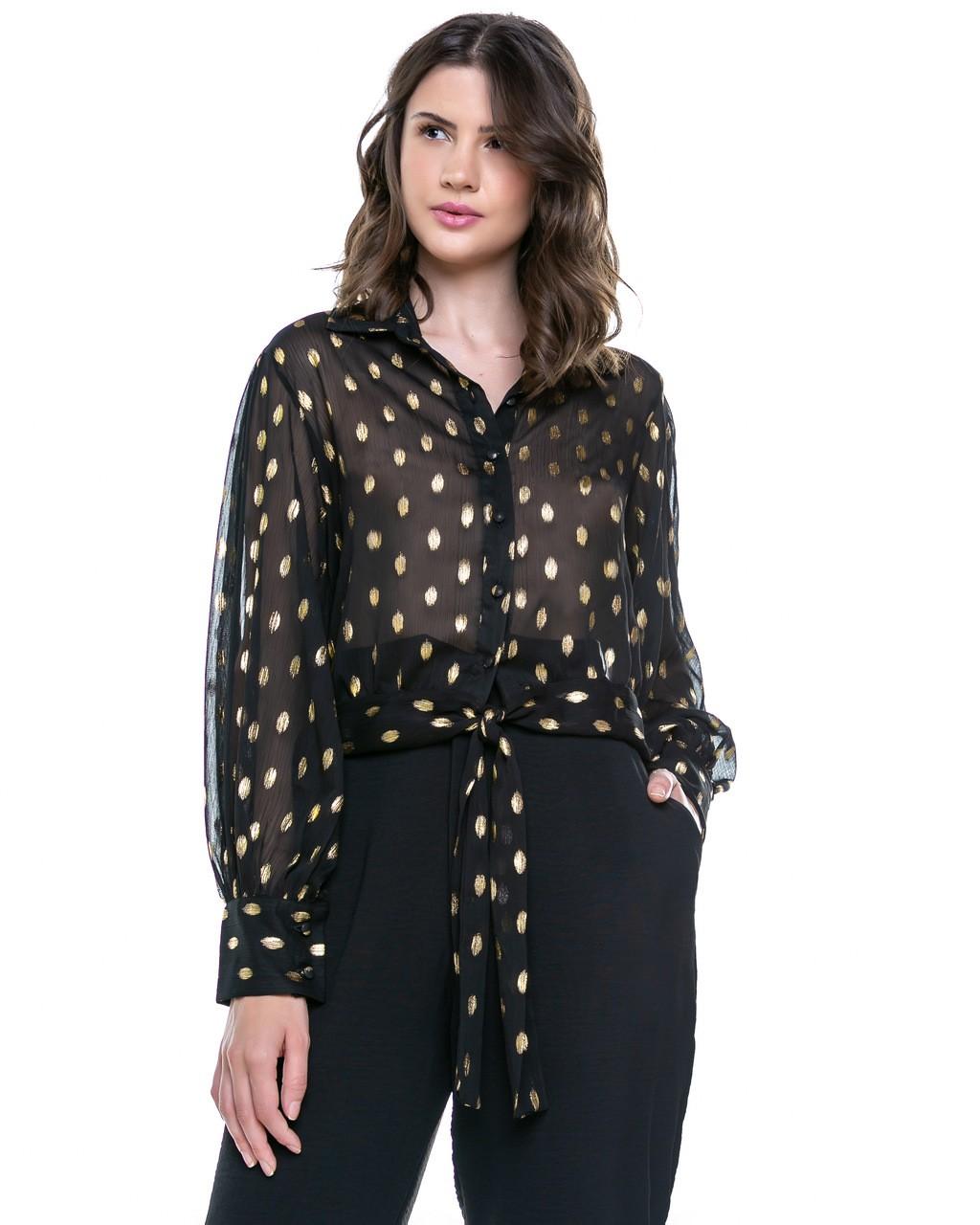 Camisa com Amarração e Poás Dourados