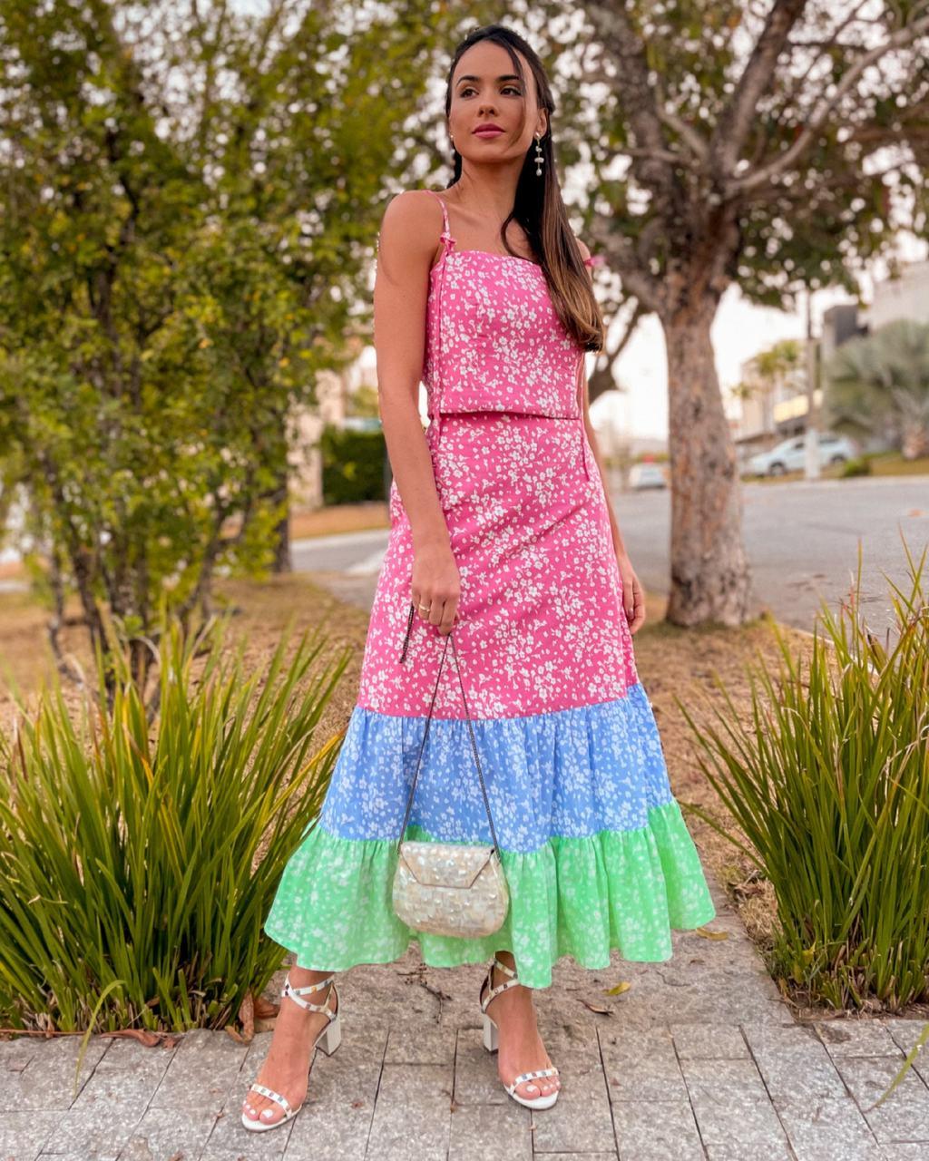 Conjunto Floral Tricolor