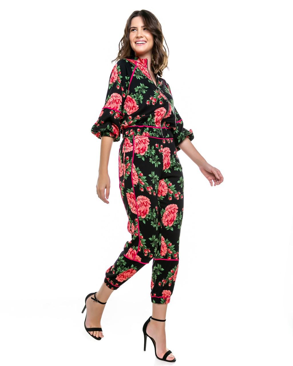 Jaqueta Bomber Estampada Floral