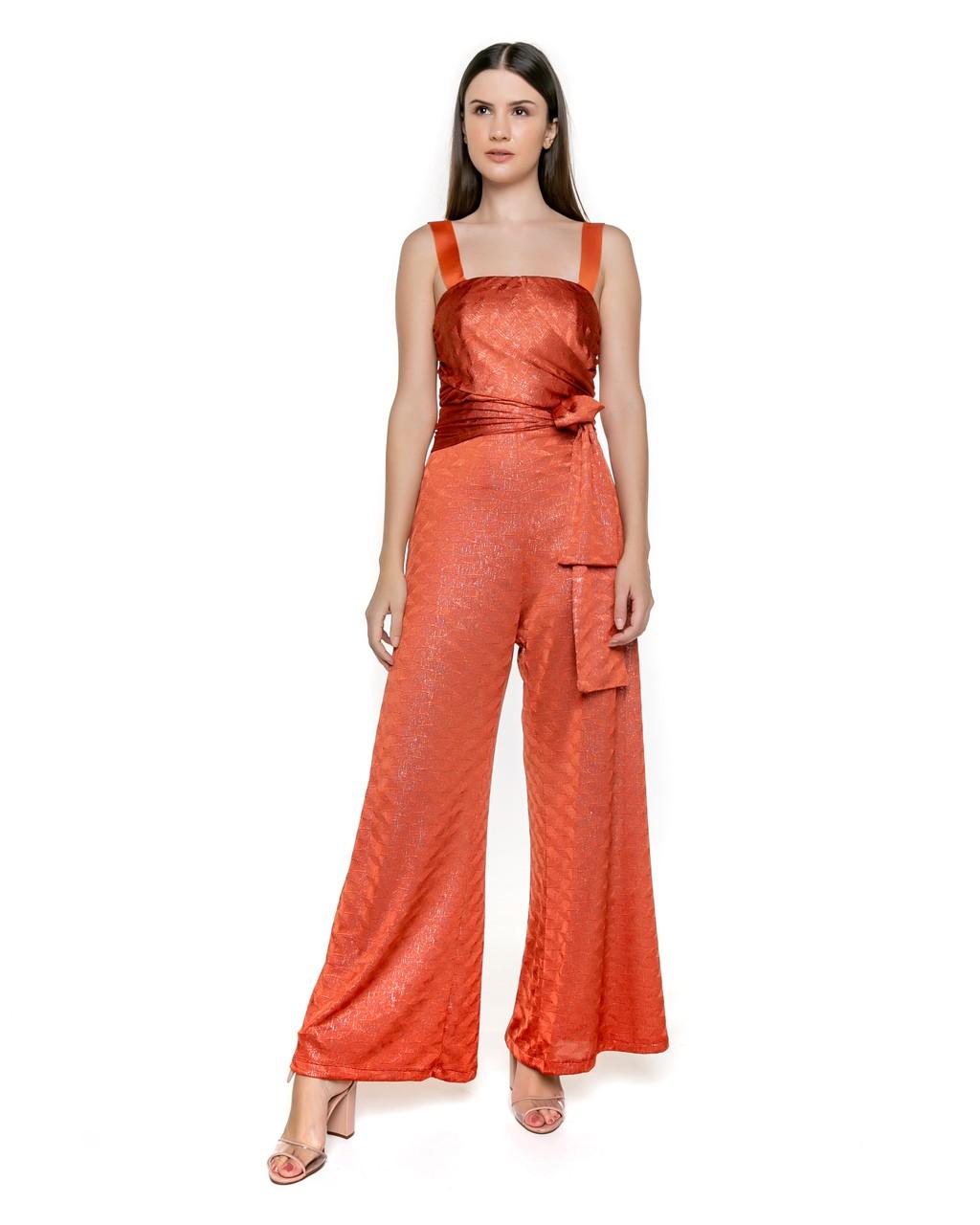 Macacão Pantalona em Tricot Metalizado