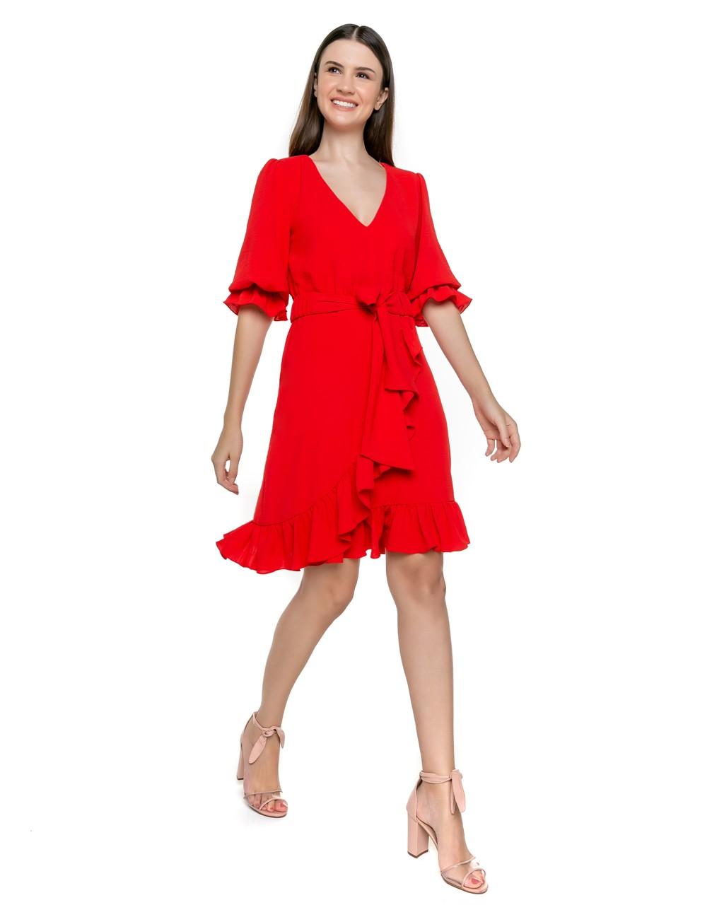 Vestido Curto com Saia Transpassada