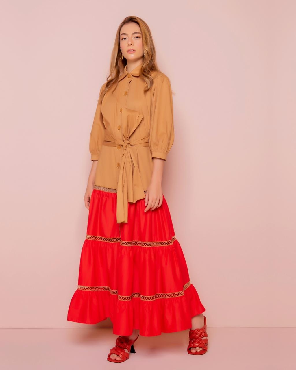 Vestido Longo Bicolor com Recortes