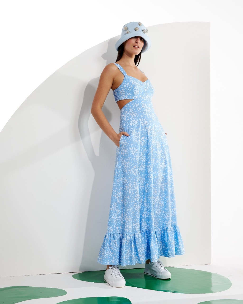 Vestido Longo de Alças Floral