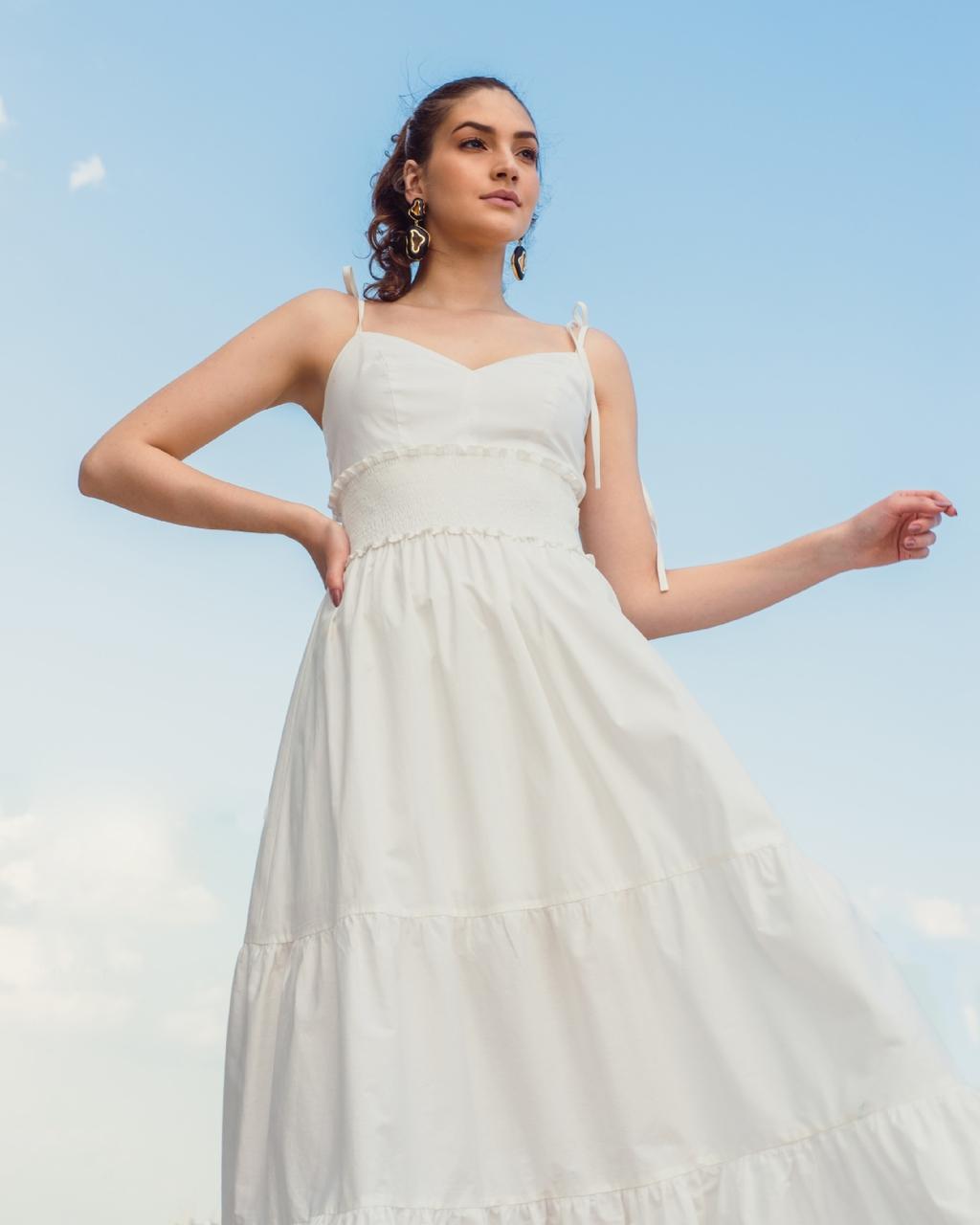 Vestido Longo de Alcinhas com Lastex