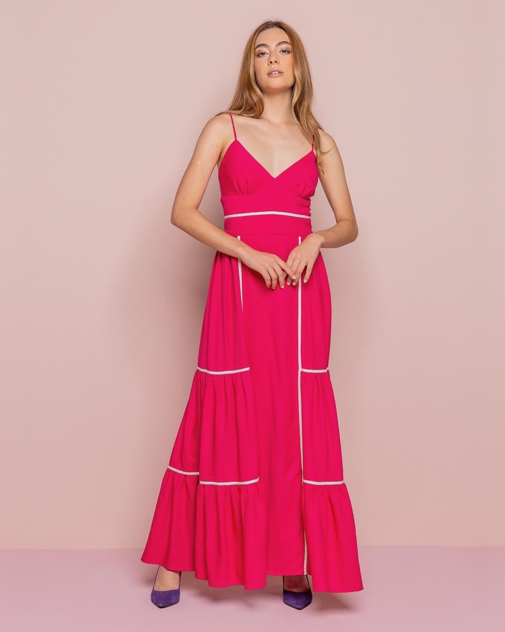 Vestido Longo de Alcinhas com Recortes