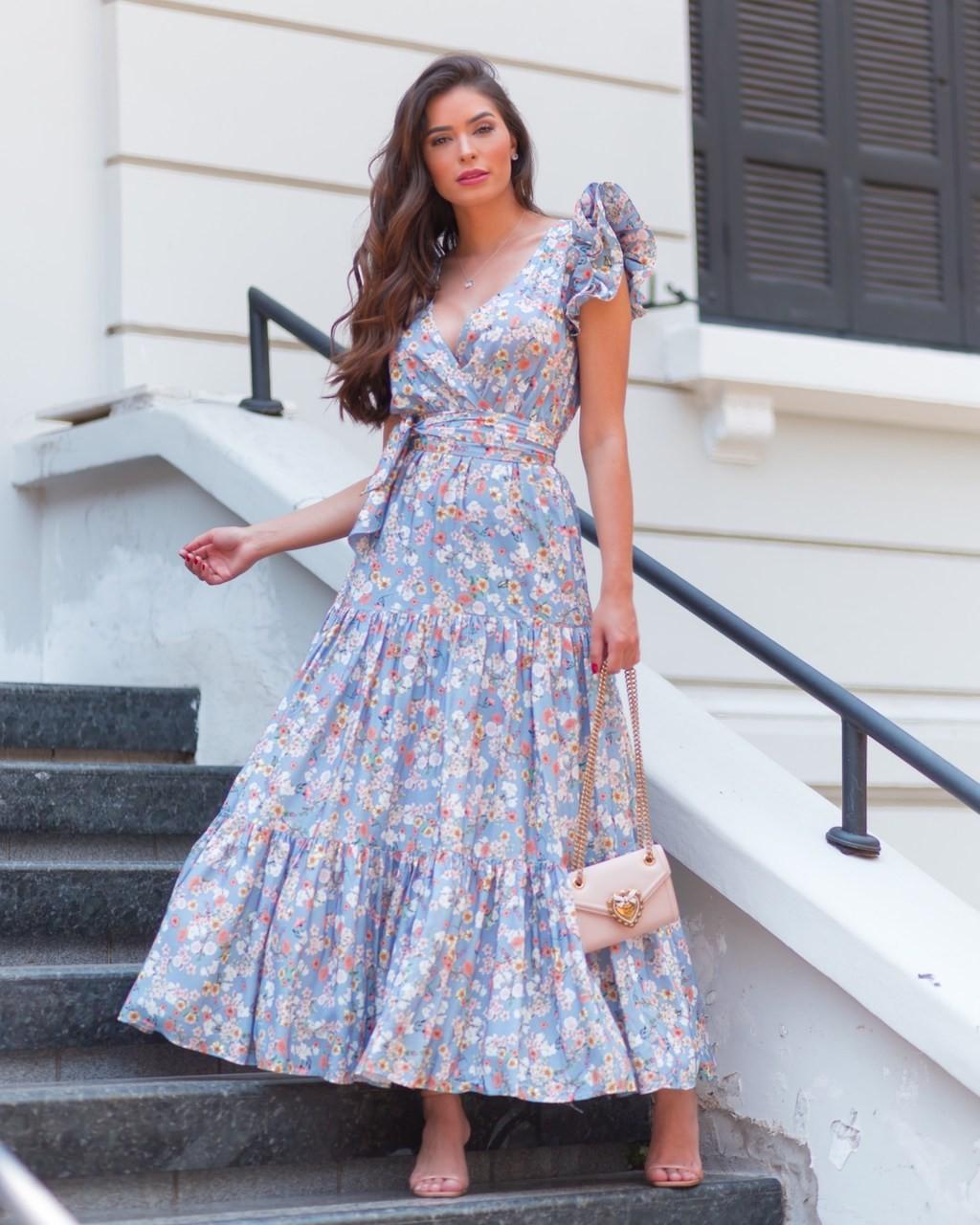 Vestido Longo Estampado Floral