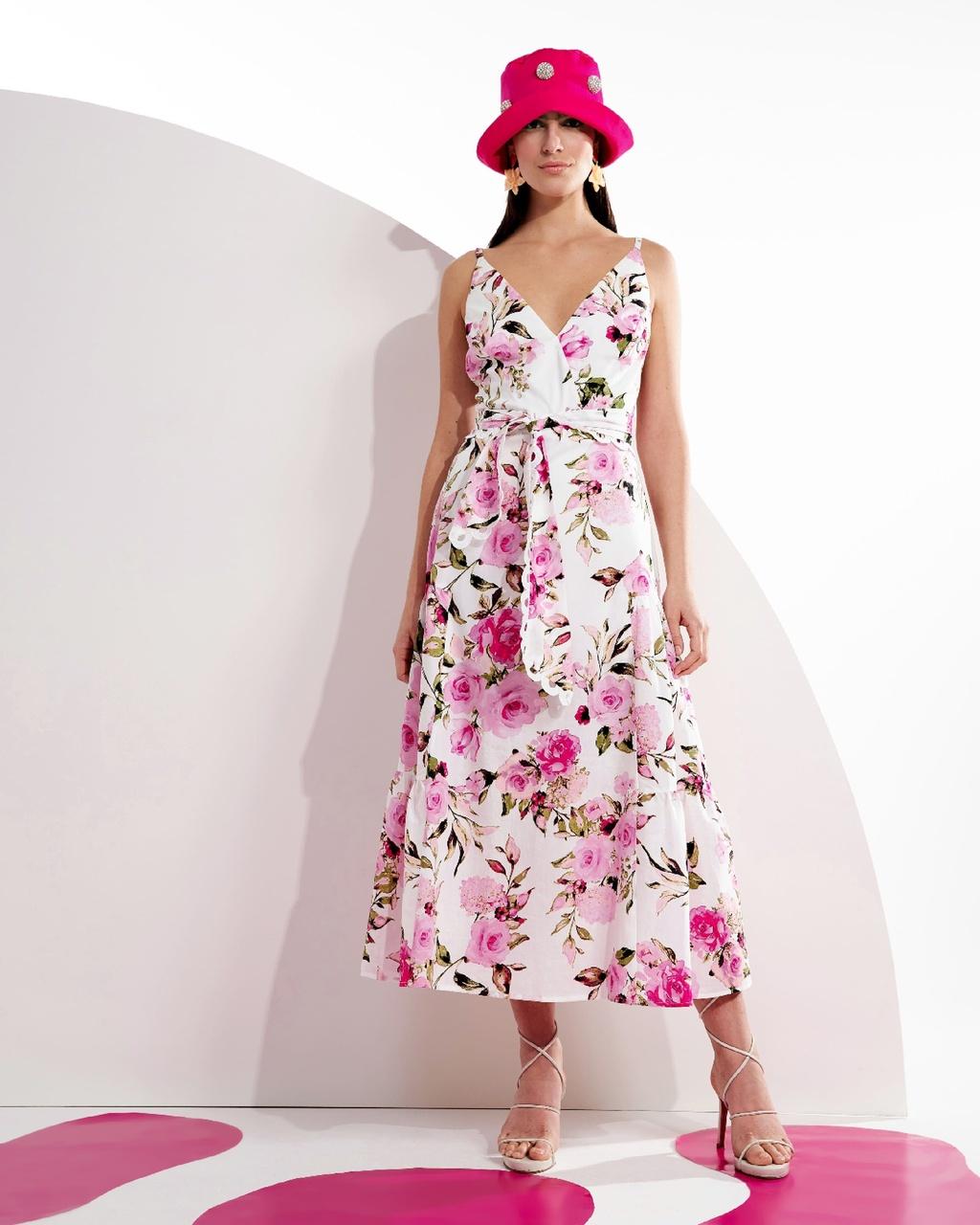 Vestido Longo Floral com Recortes