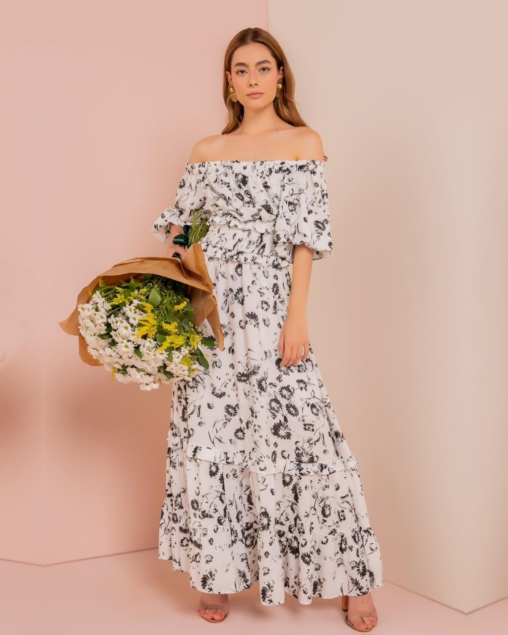 Vestido Longo Floral Ombro à Ombro