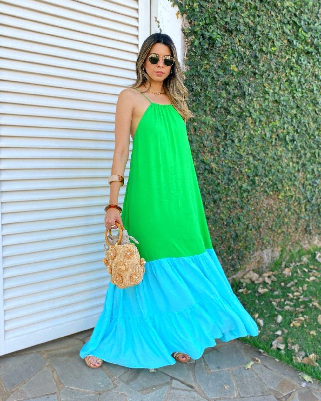 Vestido Longo Fluido Bicolor
