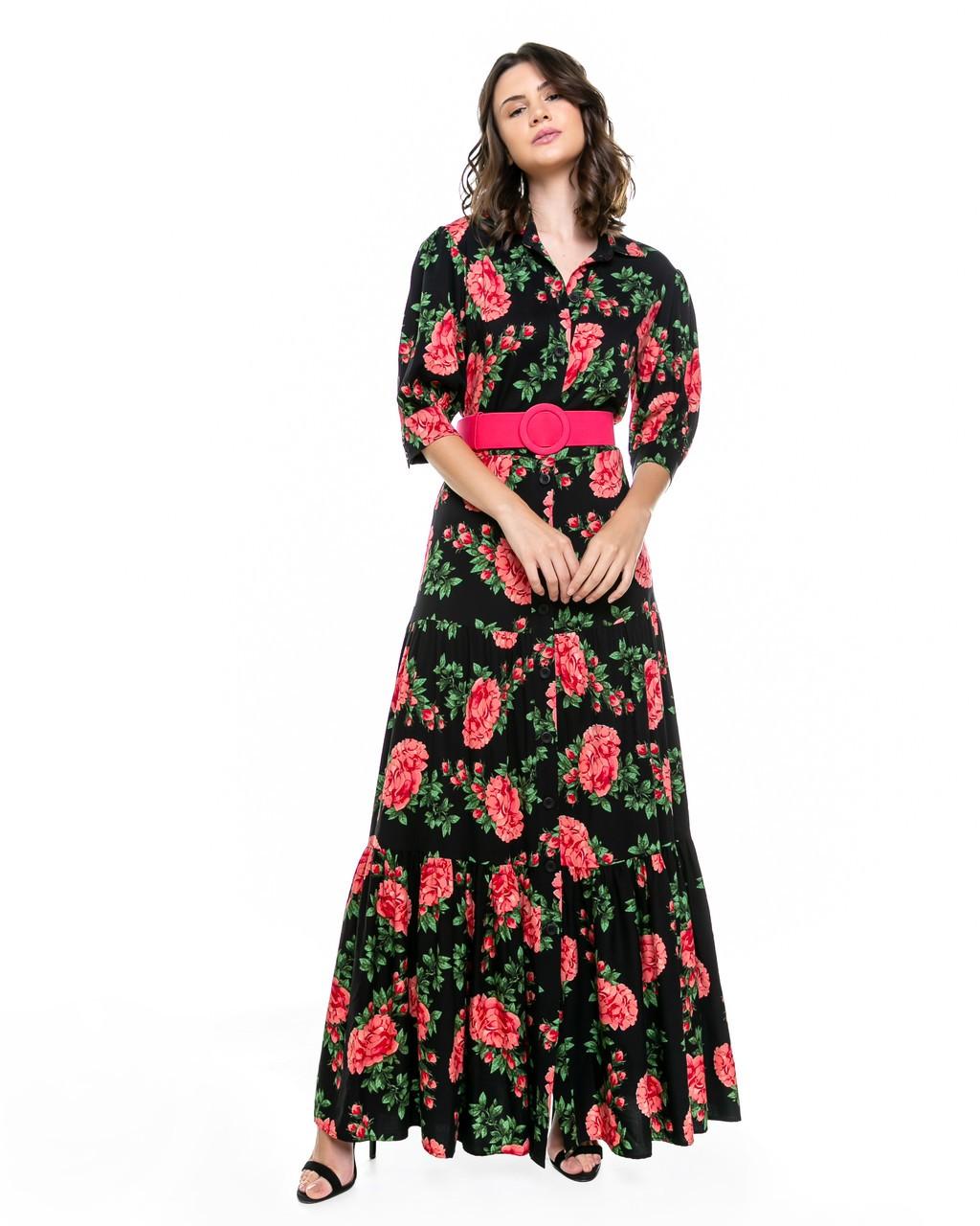 Vestido Longo Fluido Estampado