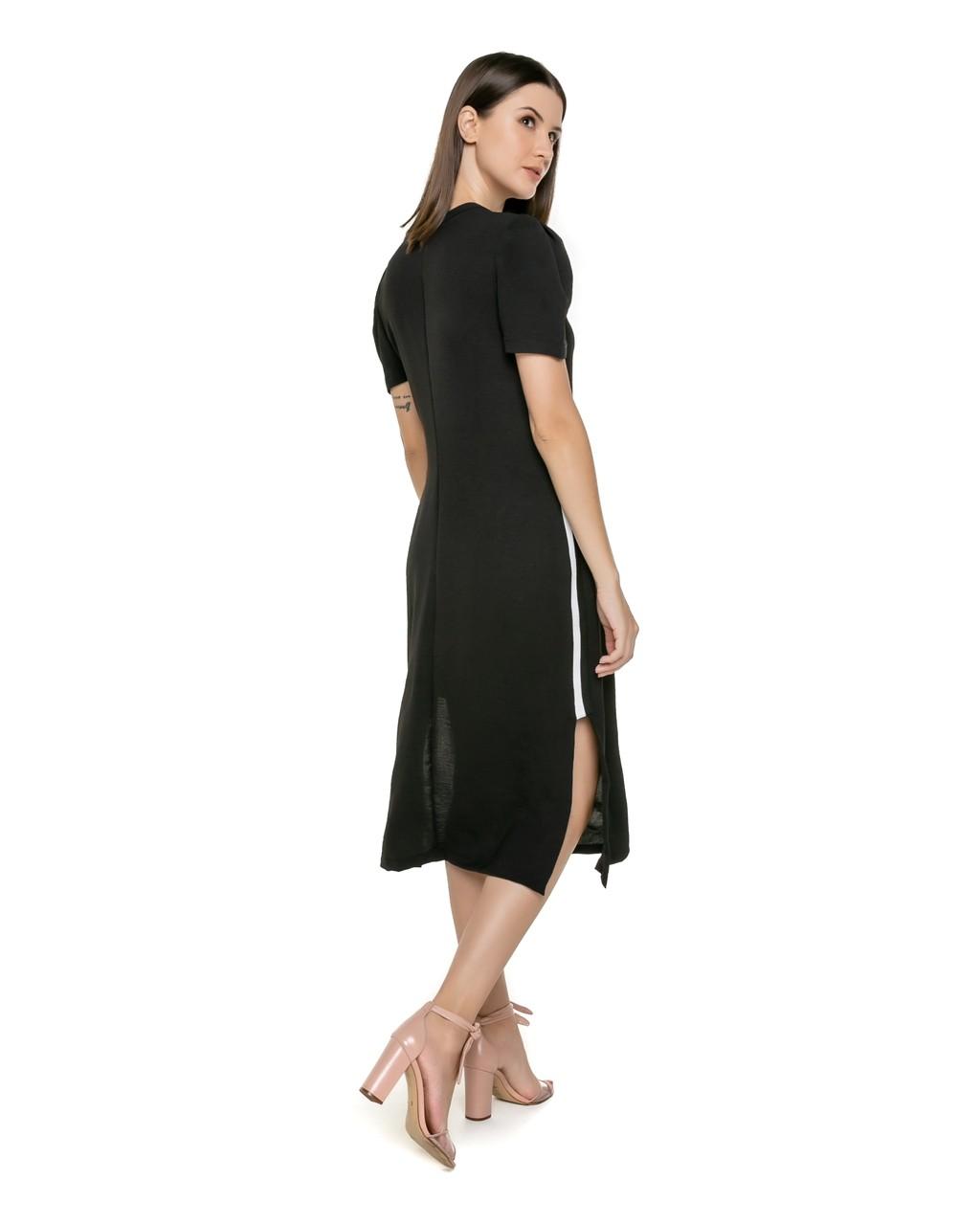 Vestido Midi com Detalhe Listrado