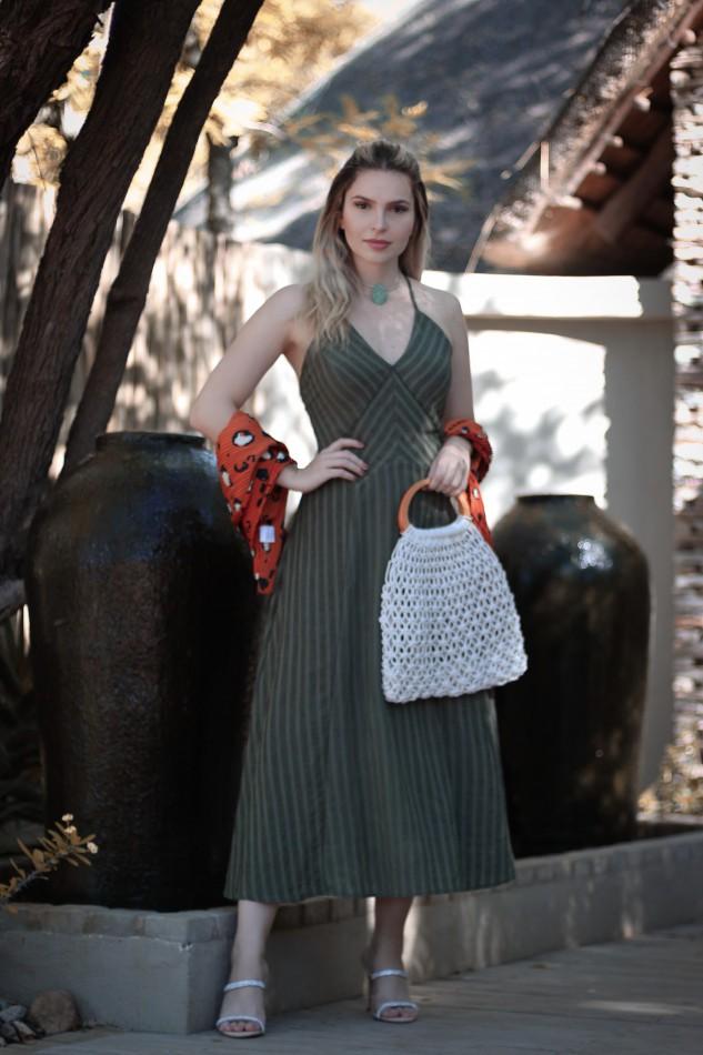 Vestido Midi de Alcinhas com Recortes