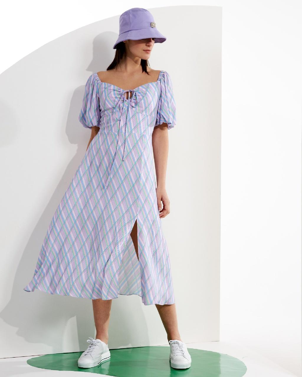 Vestido Midi Estampado com Fenda