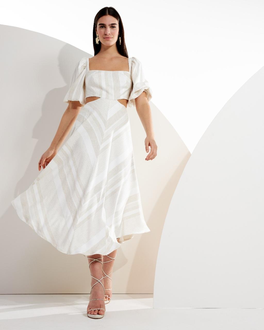 Vestido Midi Listrado com Vazados