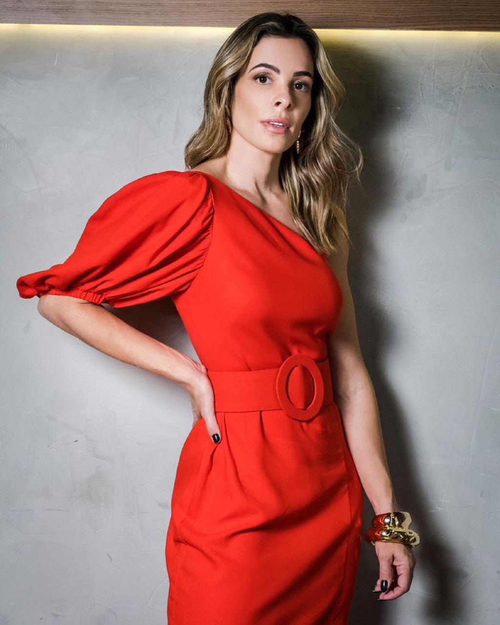 Vestido Midi Ombro Único