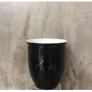 VASO 012015 CERAM PRETO/BRANCO 10x11,5cm