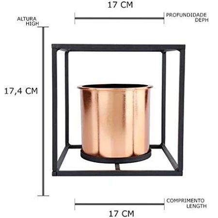 VASO HOUS COBRE METAL /PLASTICO GEO FORMS 17X17CM 40075