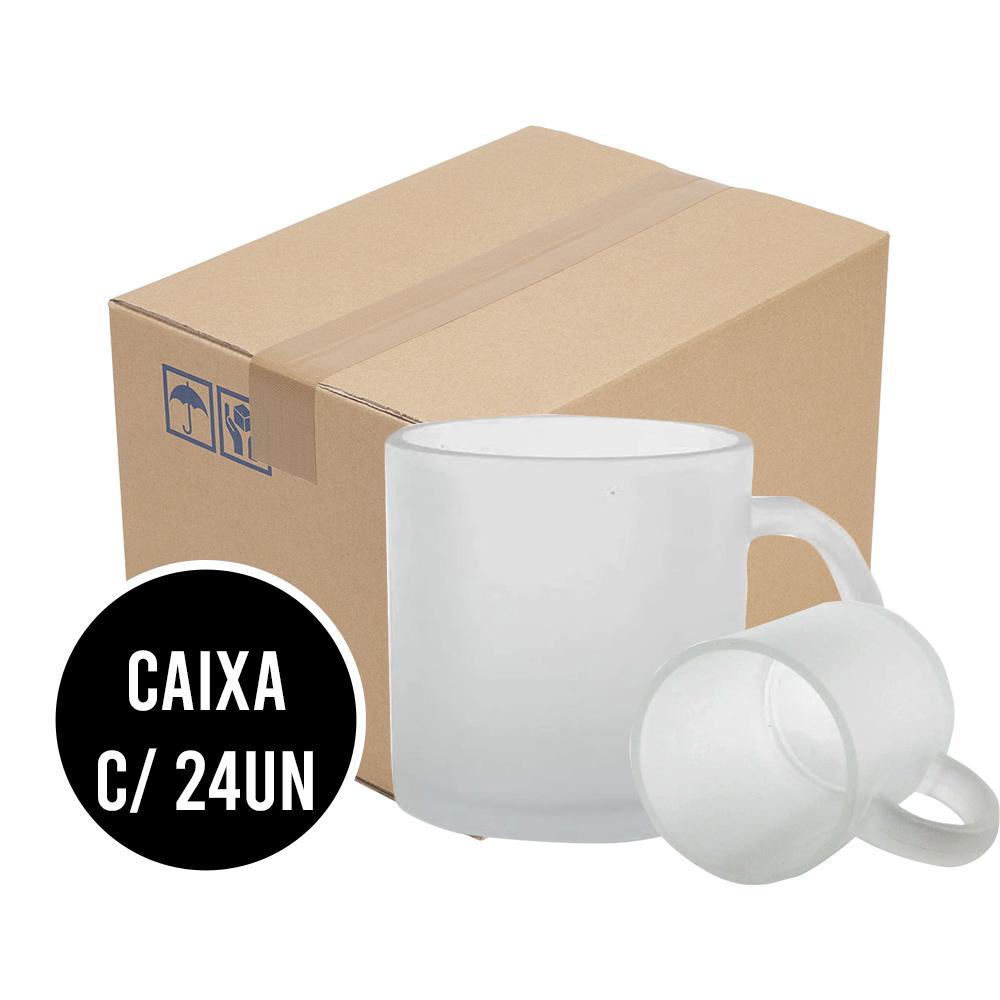 Caneca de Vidro Fosco para Sublimação Cx c/ 24un