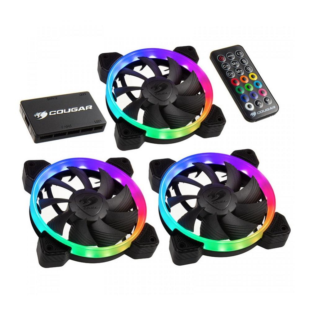Cooler FAN HPB120 PWM HDB RGB KIT 3x120mm c/ Controle PN# 3MHPBKIT.0001 Cougar