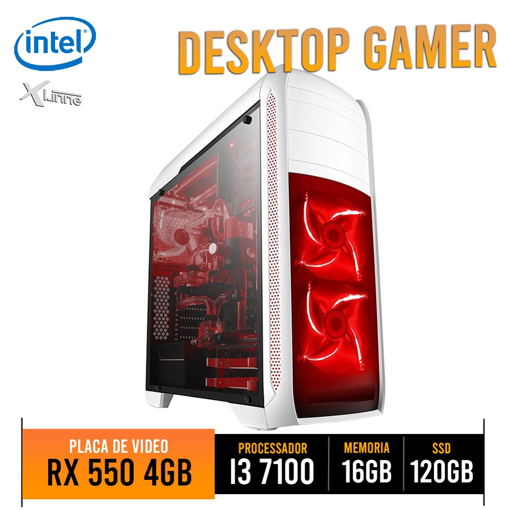 Desktop 1151 Gamer i3 7100 DDR4 16Gb SSD 120GB VGA RX 550 4GB BG-024 X-Linne