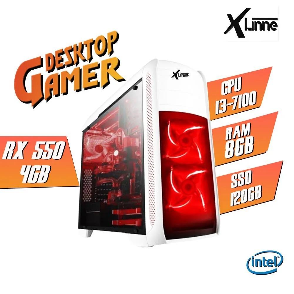 Desktop 1151 Gamer i3 7100 DDR4 8Gb SSD 120GB VGA RX 550 4GB BG-024 X-Linne