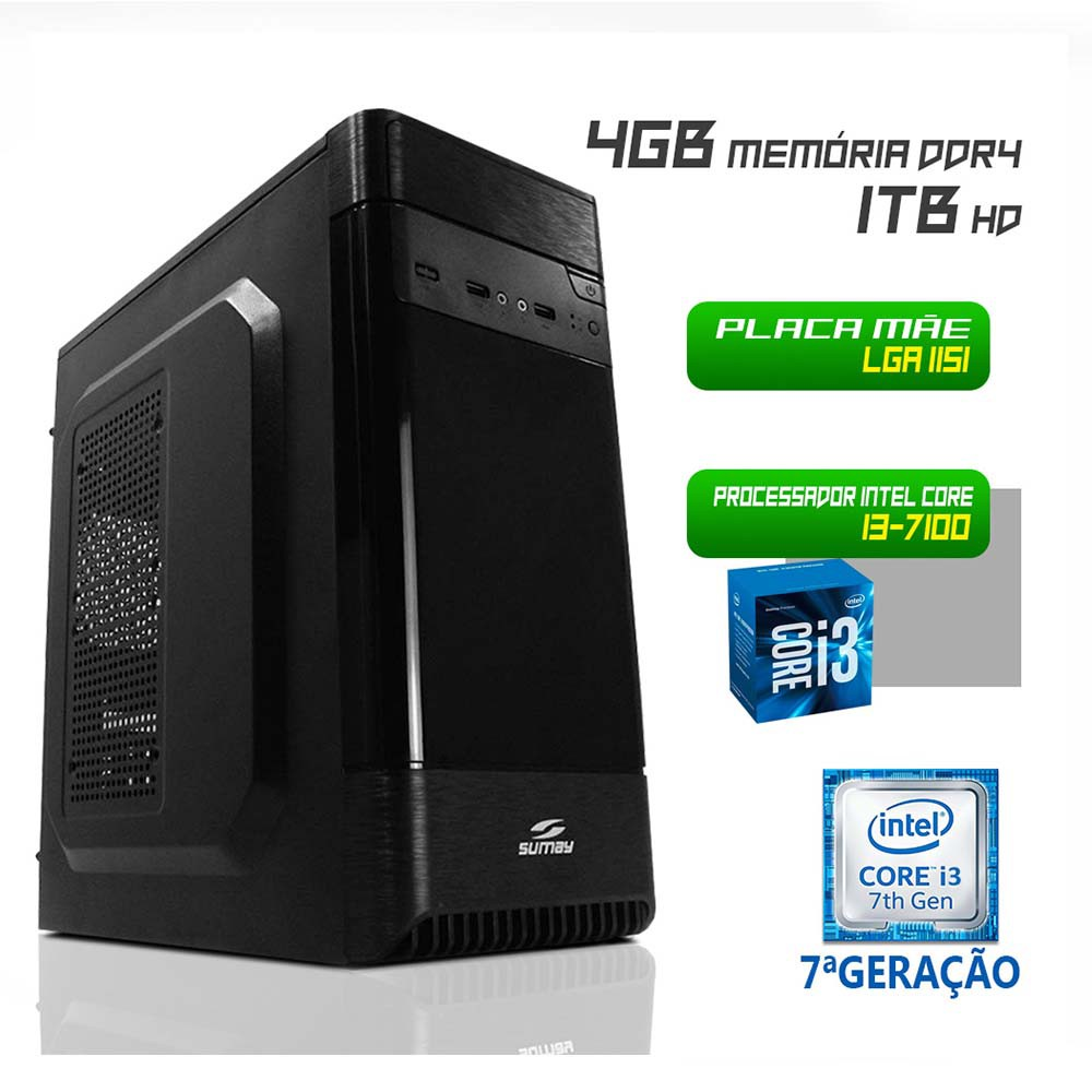 Desktop 1151 Home I3 7100 DDR4 4GB HD 1 Tera X-Linne