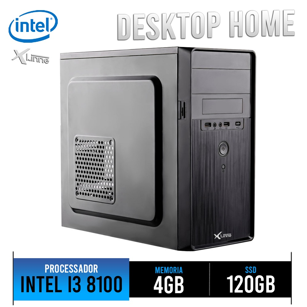 Desktop 1151 Home I3 8100 DDR4 4GB HD SSD 120GB H310 X-Linne