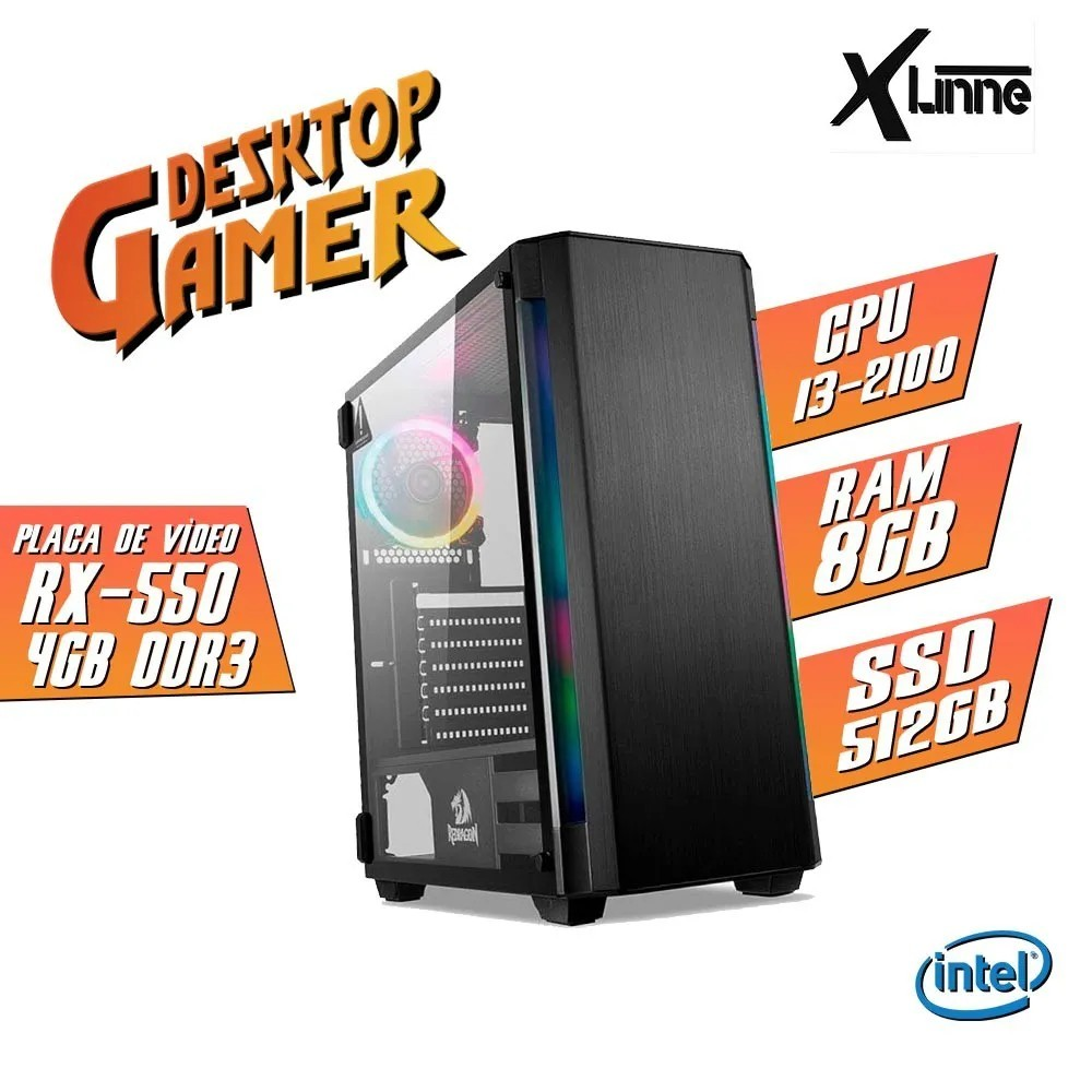 Desktop 1155 Gamer GC-909 i3 2100 8GB 512GB RX 550 4GB X-Linne