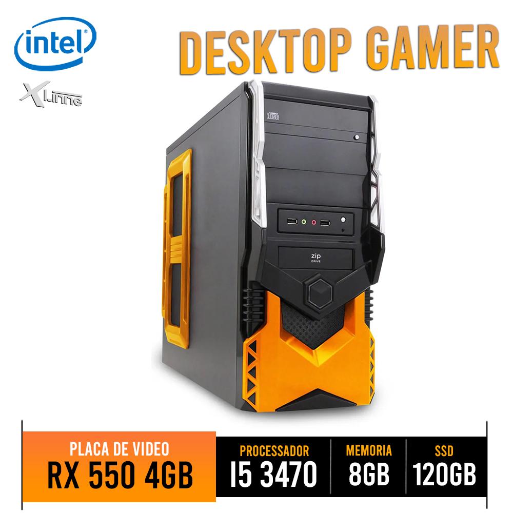 Desktop 1155 Gamer HT5A250 i5 3470 8GB SSD 120GB RX 550 4GB X-Linne