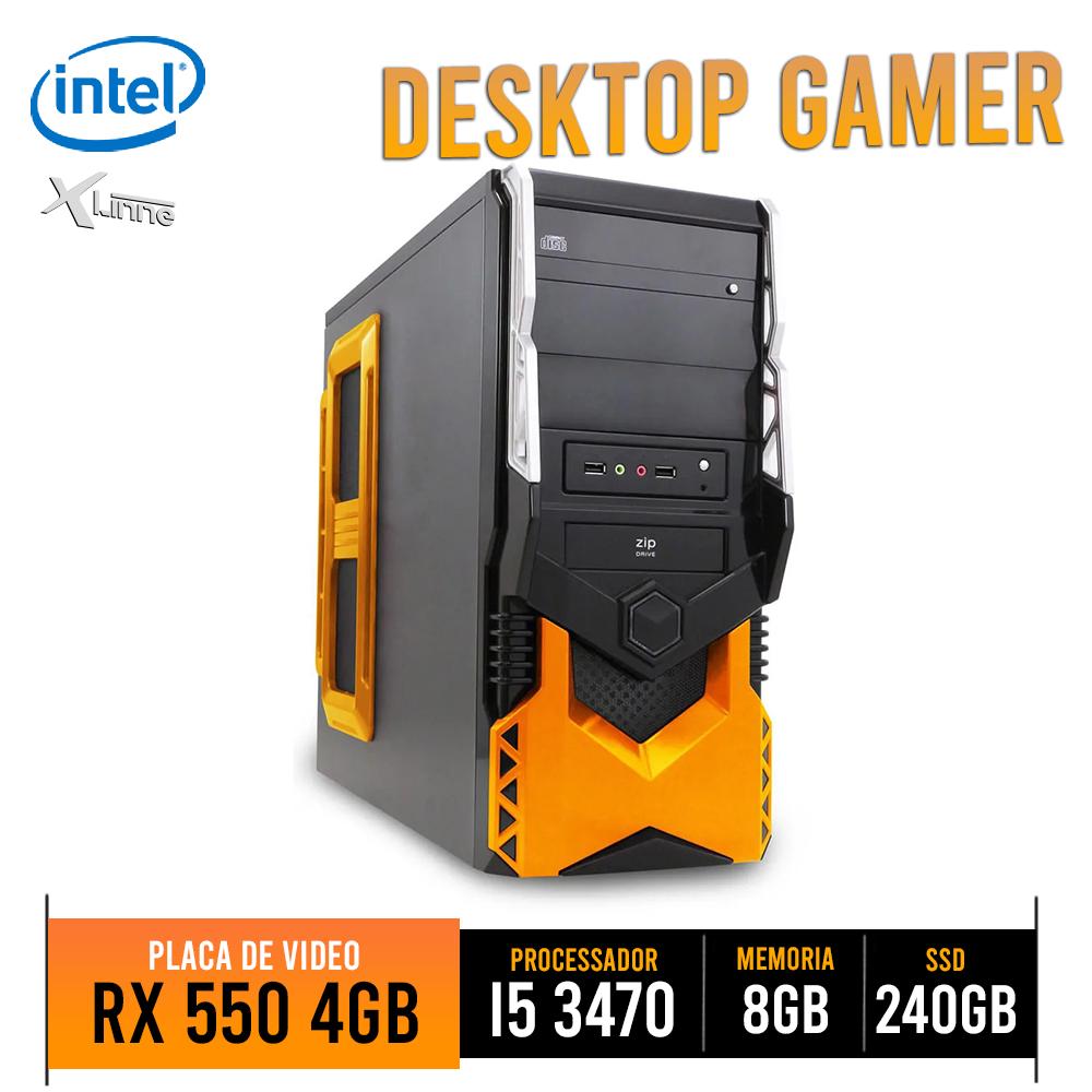 Desktop 1155 Gamer HT5A250 i5 3470 8GB SSD 240GB RX 550 4GB X-Linne