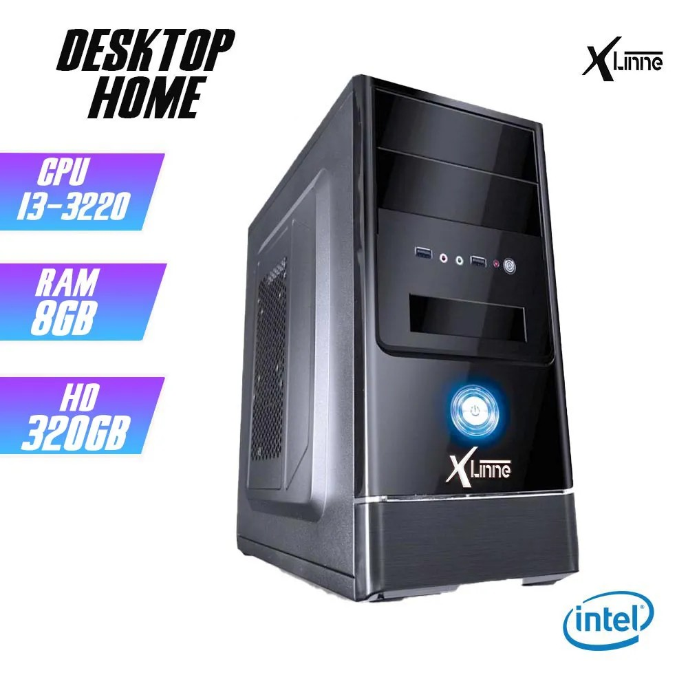 Desktop 1155 Home I3 3220 DDR3 8GB HD 320Gb X-Linne
