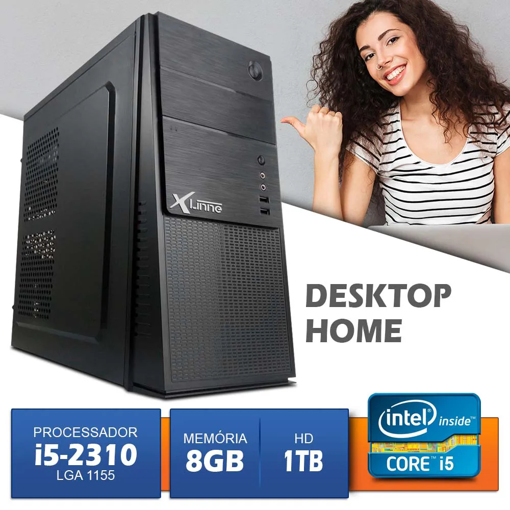 Desktop 1155 Home I5 2310 DDR3 8GB HD 1 Tera  X-Linne