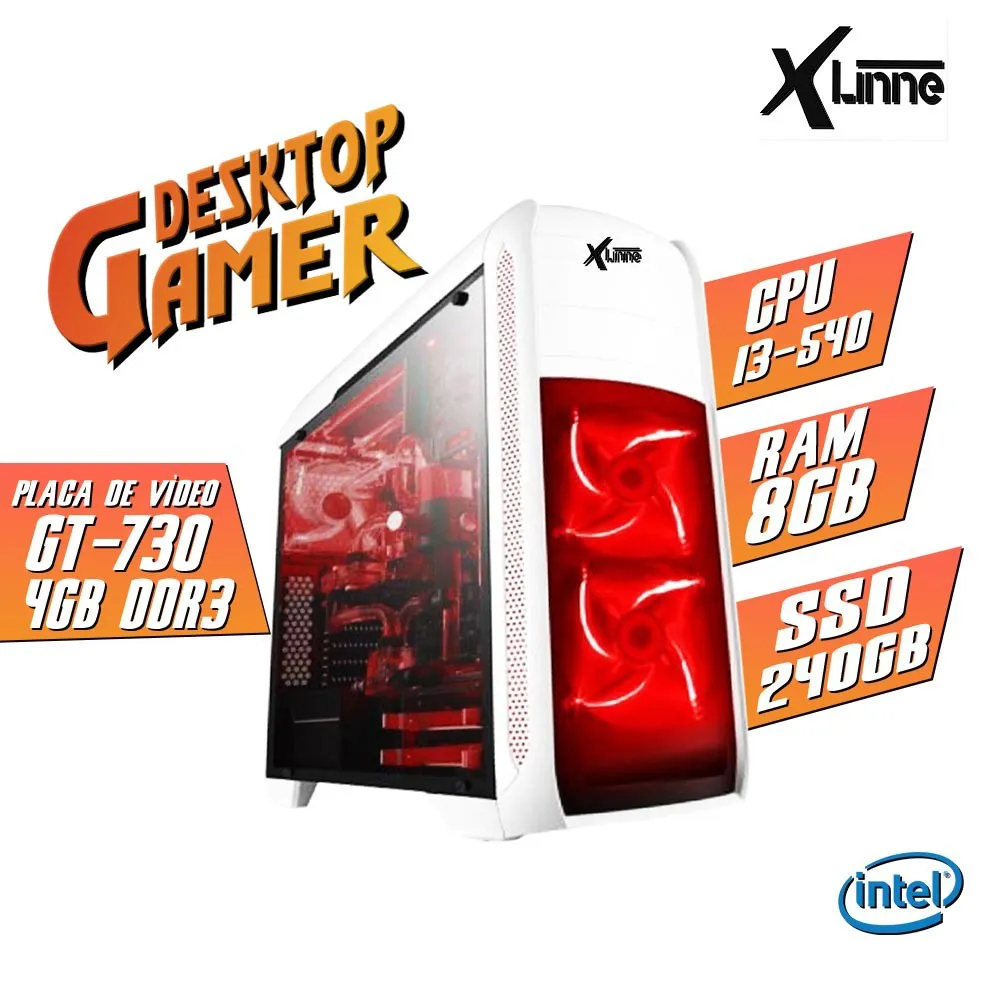 Desktop 1156 Gamer BG-024 I3 540 DDR3 8Gb HD 240GB VGA GT730 4GB X-Linne