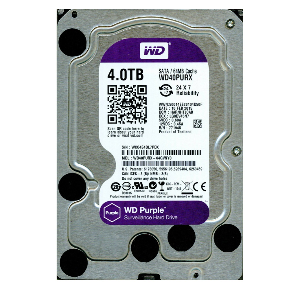 HD P/ Segurança 4TB Sata WD40PURX Purple Wester Digital