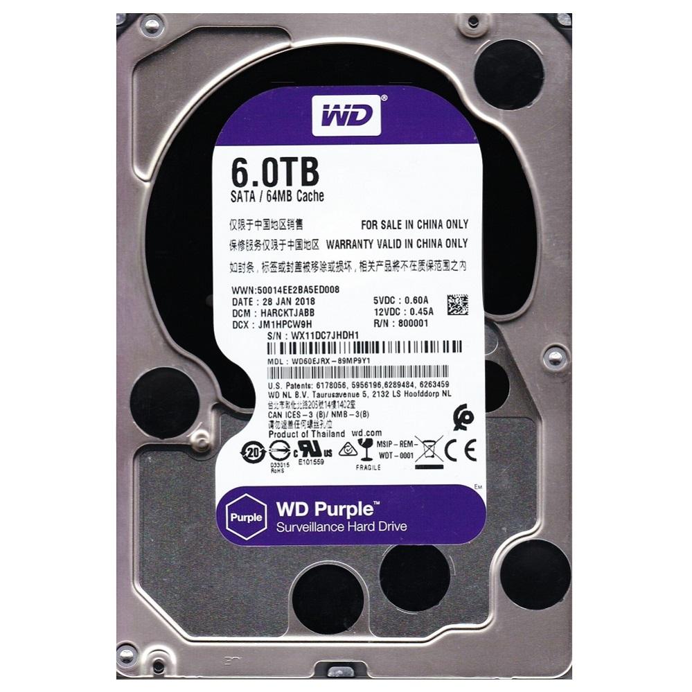 HD P/ SEGURANÇA 6TB Sata WD60EJRX Purple Wester Digital