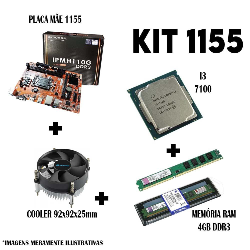 Kit 1151 Placa Mae H110 + Processador i3 7100 + DDR3 4gb