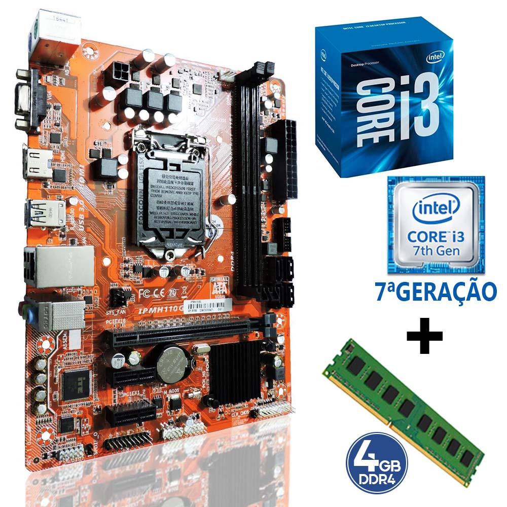 Kit 1151 Placa Mae H110 + Processador i3 7100 + DDR4 4gb