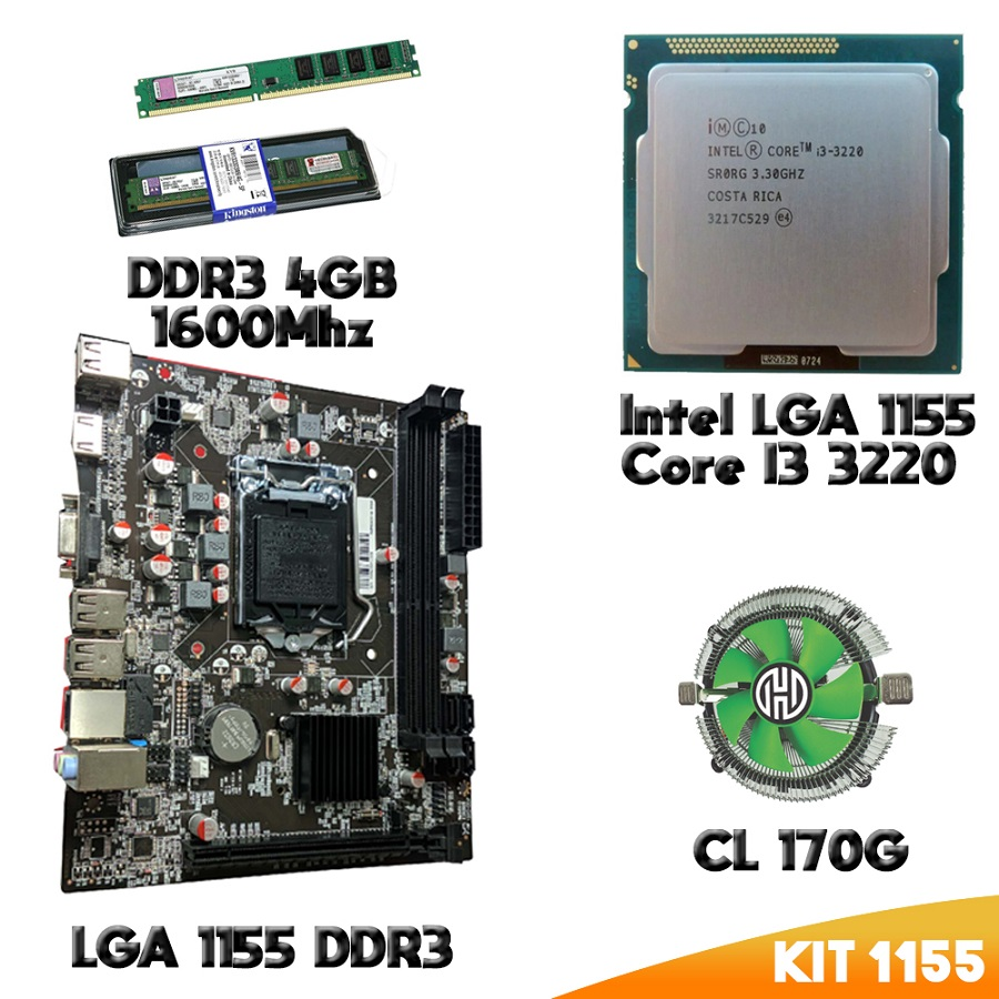 Kit 1155 Placa Mae 1155 + Processador I3 3220 + DDR3 4gb