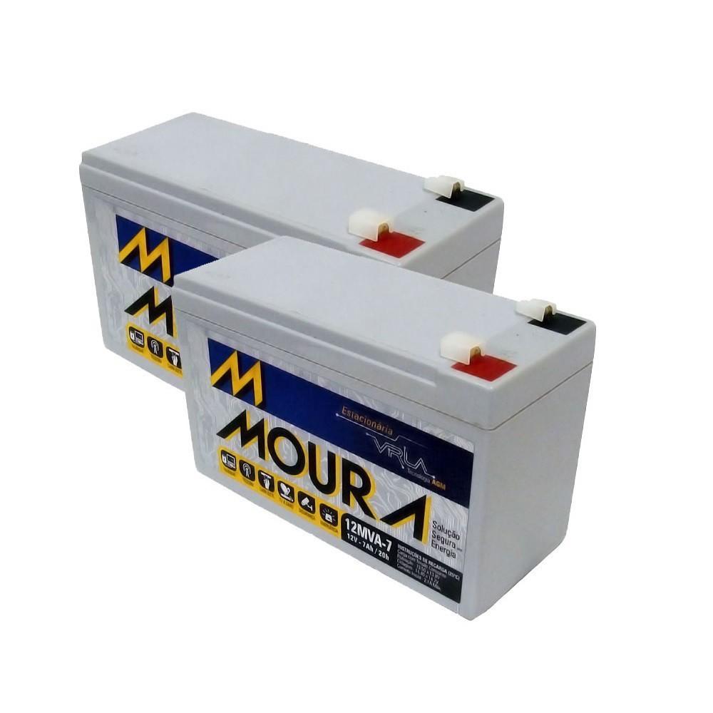 Kit 2 Bateria Selada 12v 7amp 12MVA-7 Moura
