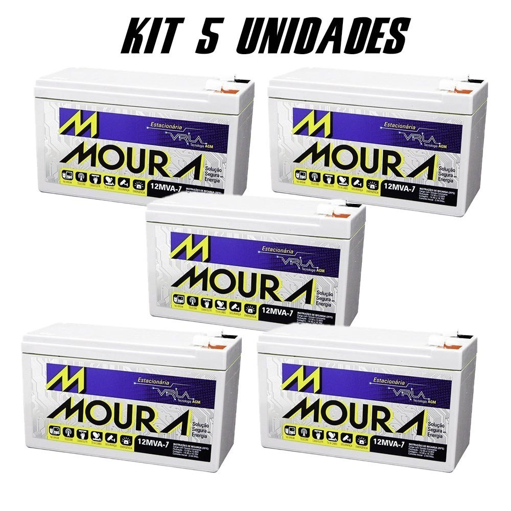 Kit 5 Bateria Selada 12v 7amp 12MVA-7 Moura